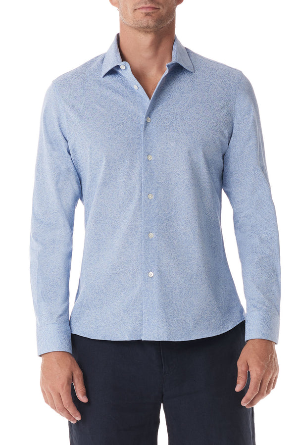 Light Blue Paisley Stretch Knit Button Up - SCARCI Italian Sportswear