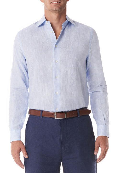 Light Blue Linen Button Up - SCARCI Italian Sportswear