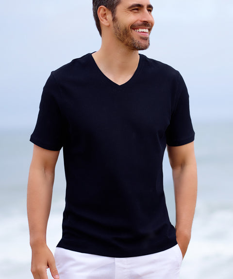 Navy Designer V Neck Men's T Shirt