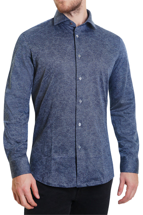 Navy Paisley Stretch Knit Button Up - SCARCI