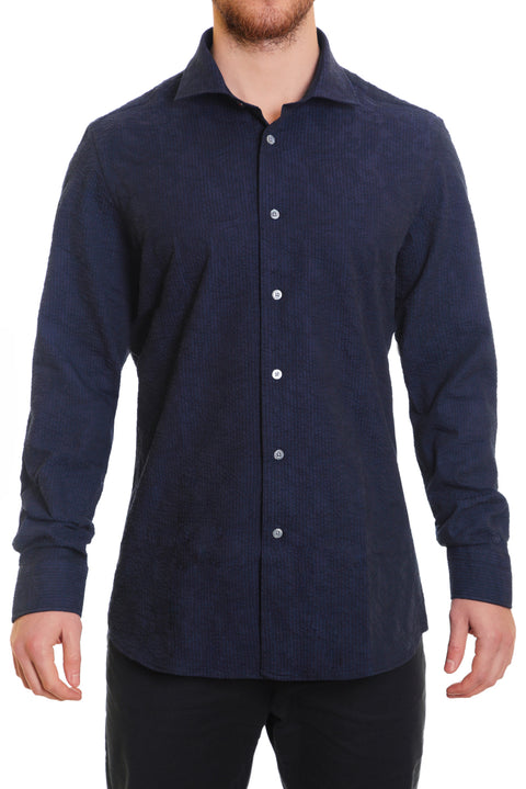 Navy Paisley Seersucker Button Up Shirt - SCARCI Italian Sportswear
