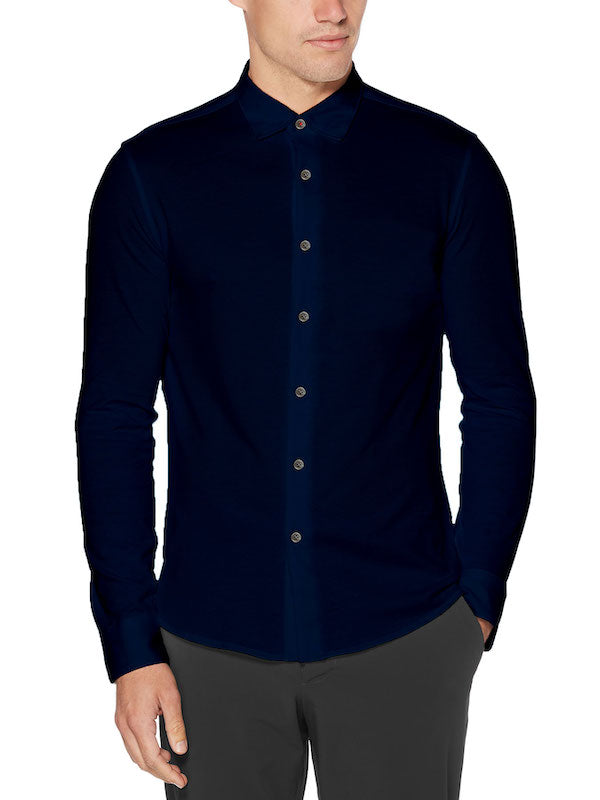 Navy Pique Button Up - SCARCI Italian Sportswear
