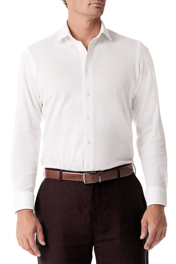 White Pique Button Up - SCARCI Italian Sportswear