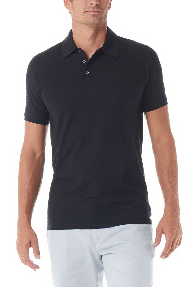 Black Portofino Polo Short Sleeve