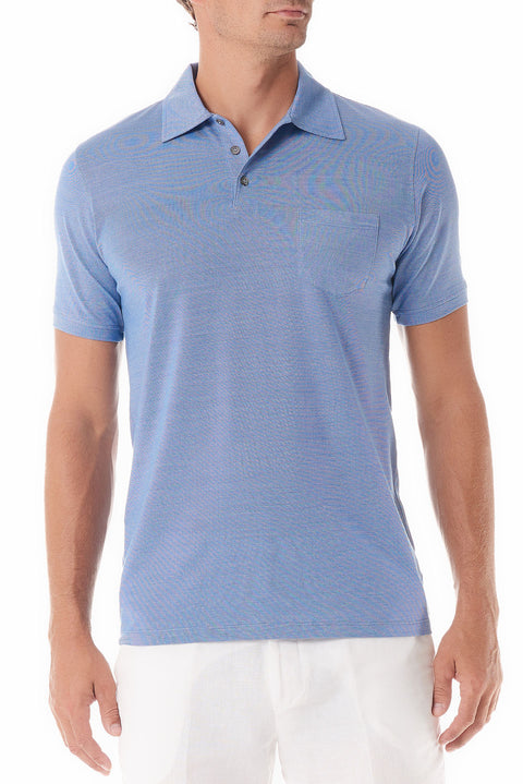 Blue Portofino Mens Polo Shirt Short Sleeve - SCARCI