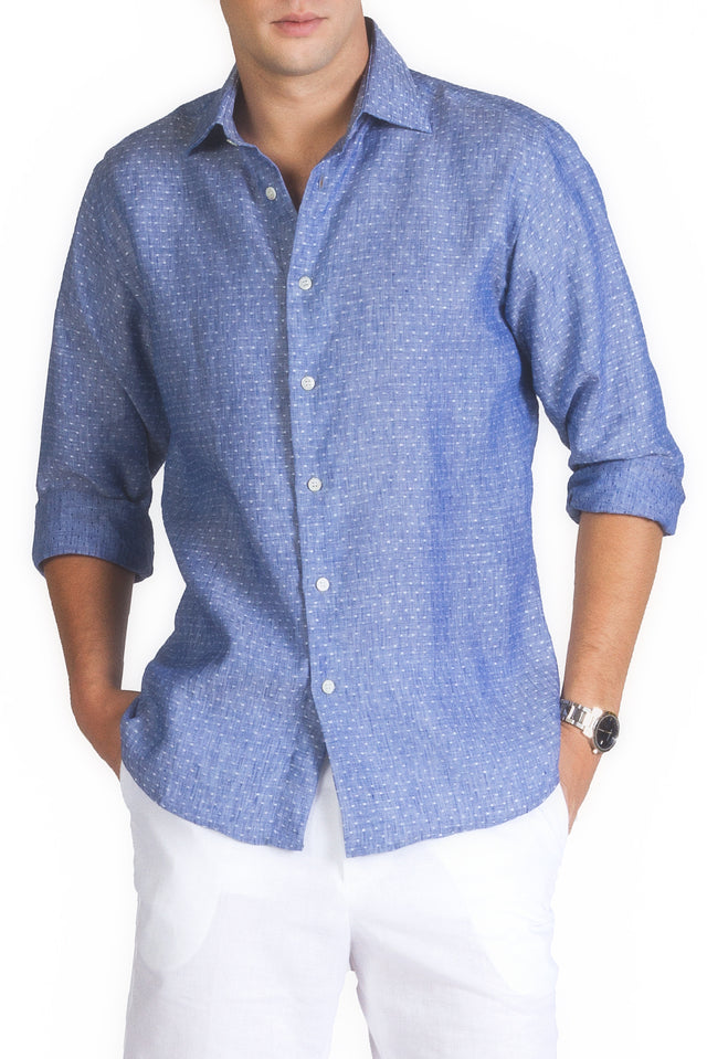 Royal Blue Linen Button Up - SCARCI Italian Sportswear