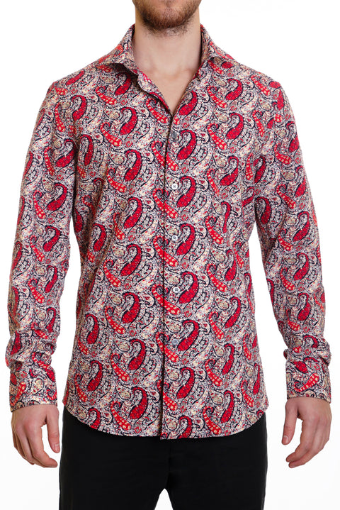 Red Paisley Seersucker Button Up Shirt - SCARCI Italian Sportswear