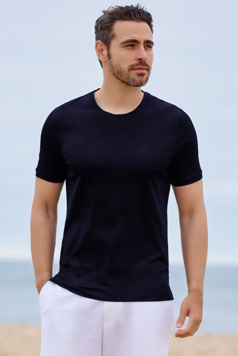 Navy RWC Cotton Crew Neck - SCARCI Italian Sportswear