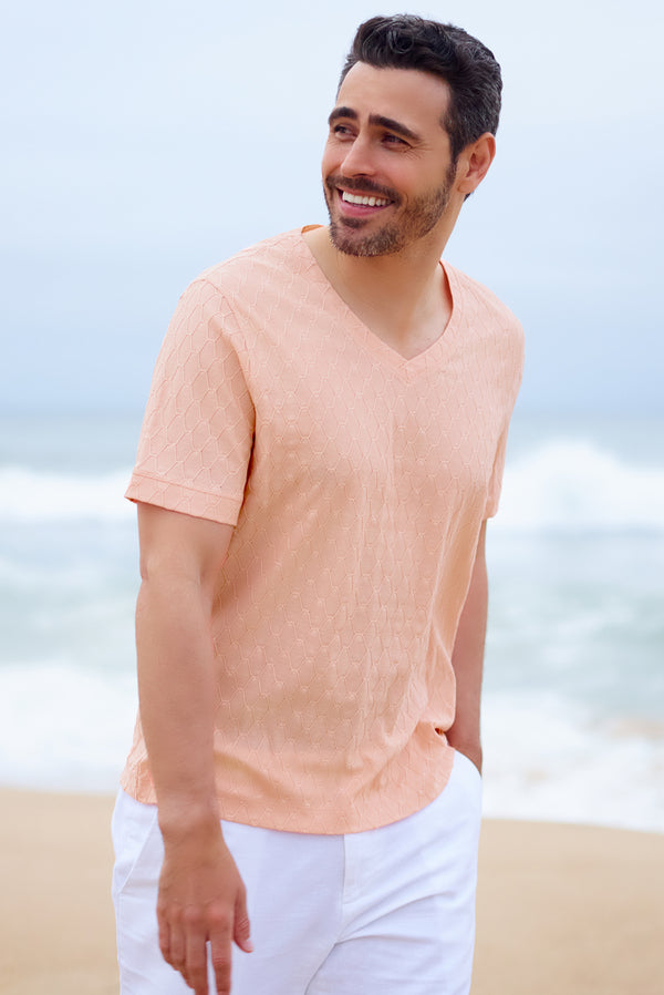 Men's Relaxed Resort Wear Cotton V Neck