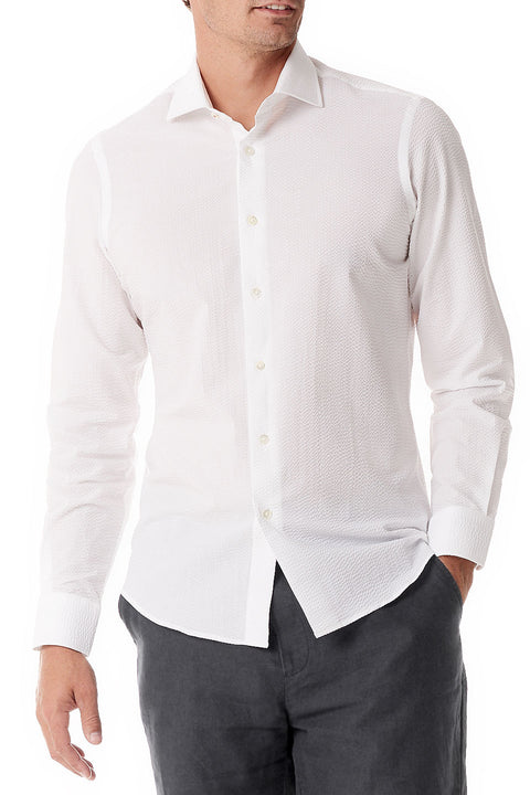 White Seersucker Button Up Shirt - SCARCI Italian Sportswear