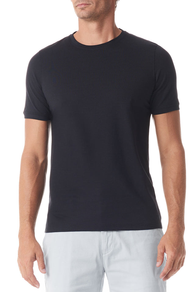 Black Silk Crew Neck Short Sleeve - SCARCI Italian Sportswear