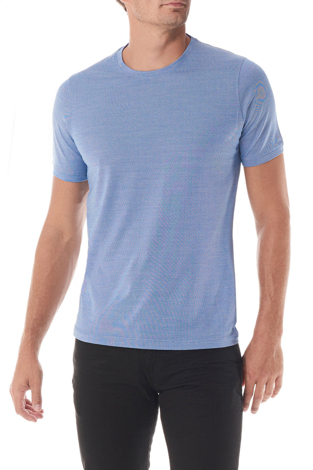 Blue Silk Crew Neck Short Sleeve - SCARCI