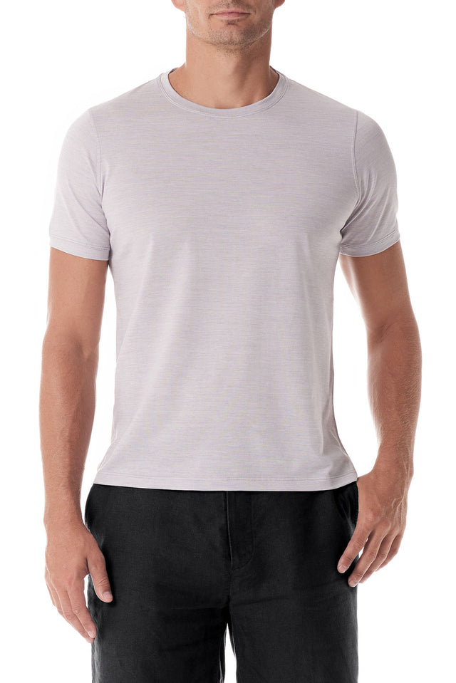 Grey Silk Crew Neck Short Sleeve