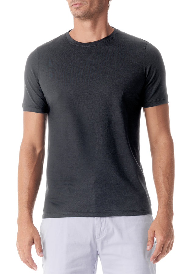 Graphite Silk Crew Neck Short Sleeve - SCARCI