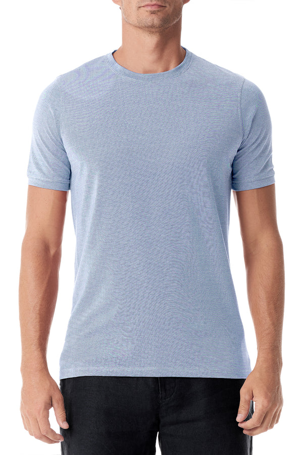 Light Blue Silk Crew Neck Short Sleeve - SCARCI Italian Sportswear