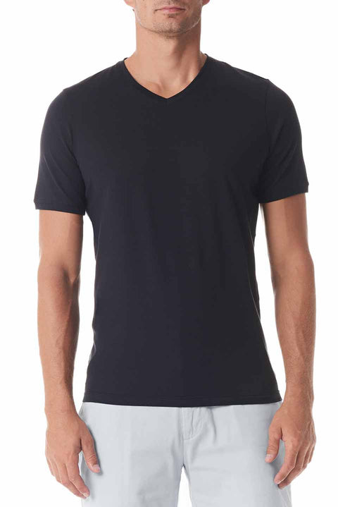 Black Silk V Neck Short Sleeve - SCARCI Italian Sportswear