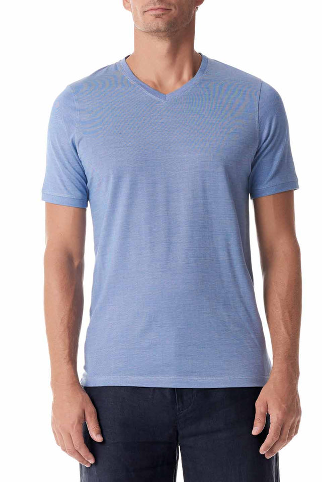 Blue Silk V Neck Short Sleeve
