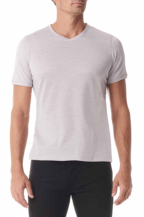 Grey Silk V Neck Short Sleeve