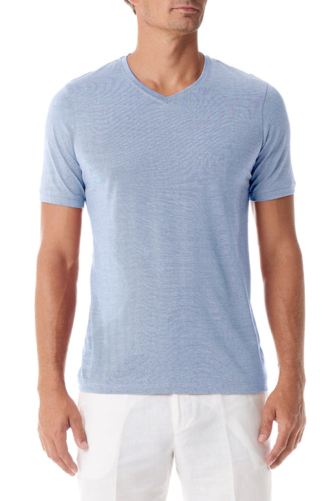 Light Blue Silk V Neck Short Sleeve - SCARCI Italian Sportswear