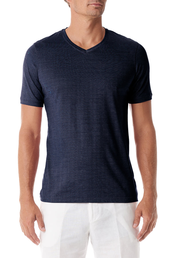 Navy Silk V Neck Short Sleeve - SCARCI