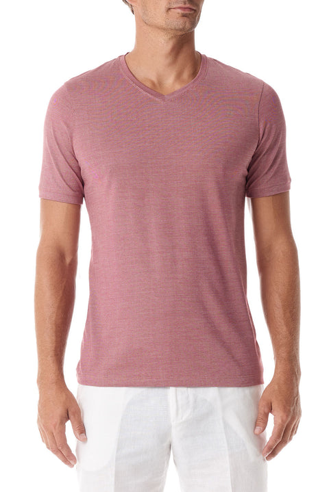 Rose Silk V Neck Short Sleeve
