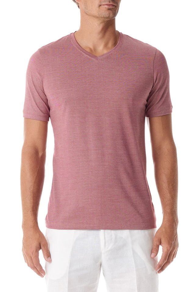 Rose Silk V Neck Short Sleeve - SCARCI Italian Sportswear