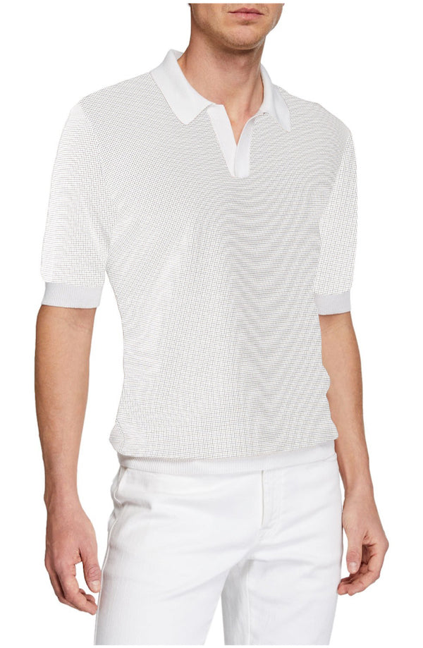 White Amalfi Johnny Collar Polo - SCARCI Italian Sportswear