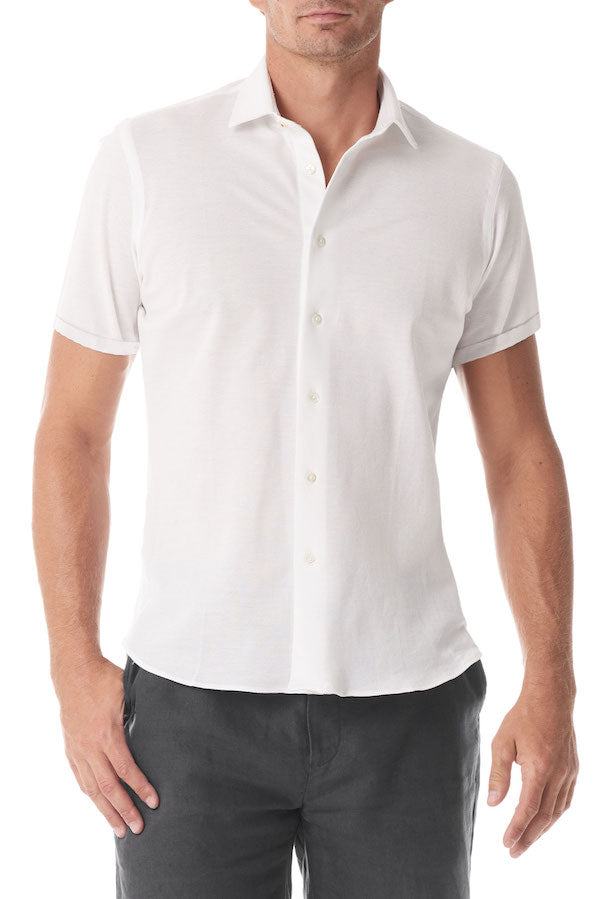 White Pique Short Sleeve Button Up - SCARCI