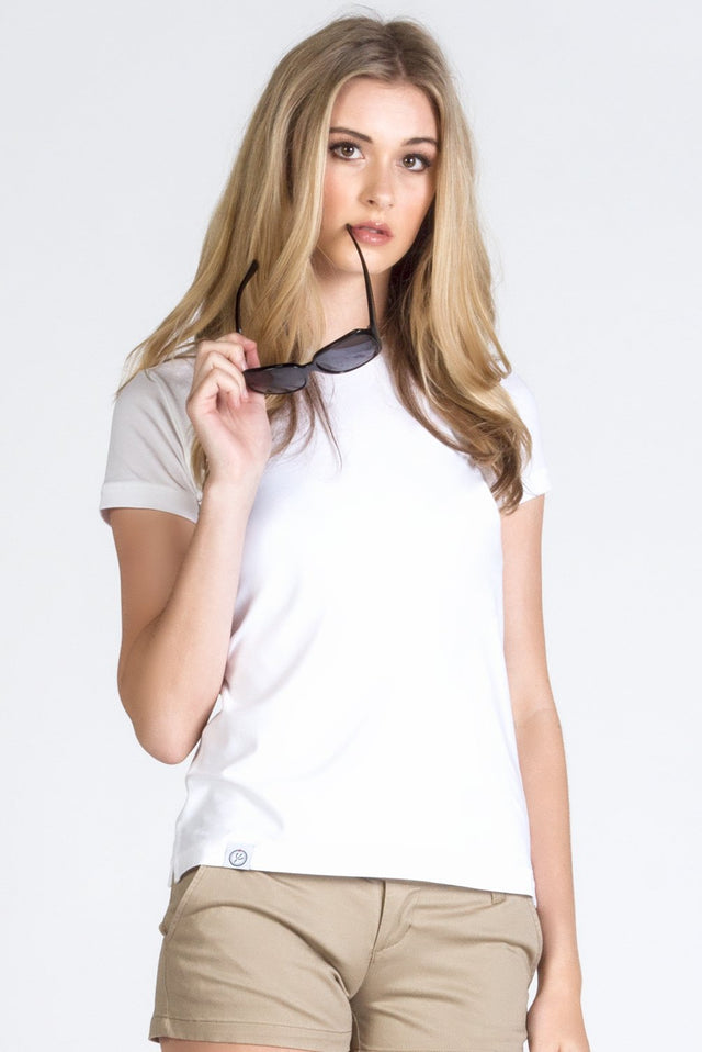 White Stretch Cotton Crew Neck