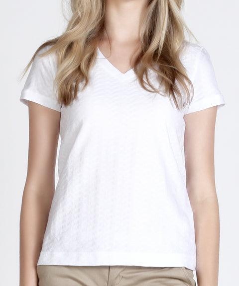 Womens Designer White Cotton Tee Shirt