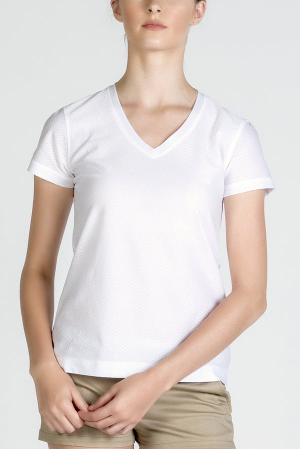 Womens White Cotton V Neck Designer Tee Shirt