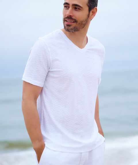 Men's Luxury White Cotton Beachwear Tee Shirt