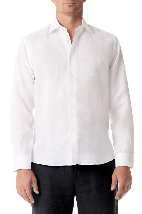 White Linen Button Up - SCARCI Italian Sportswear