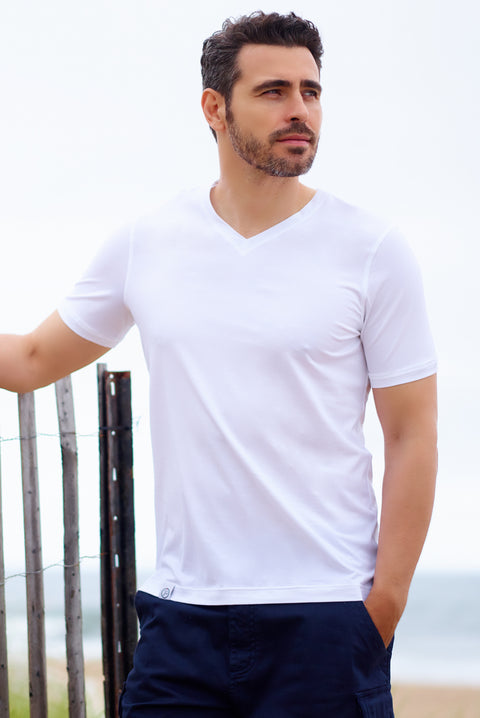 Men's Designer T Shirt V Neck White