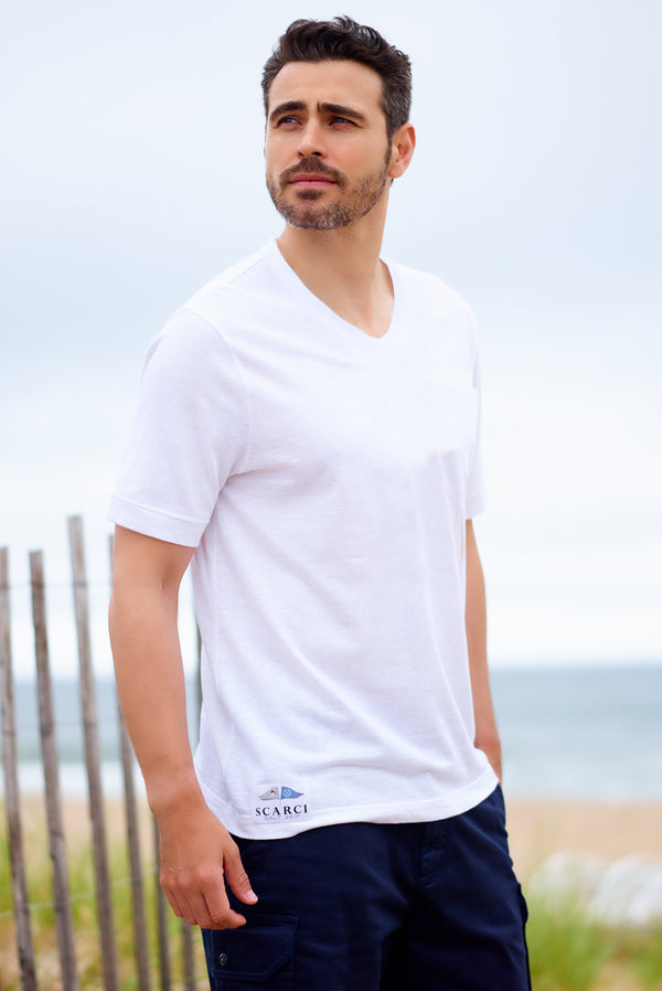 Men's White Linen Beachwear Tee Shirt