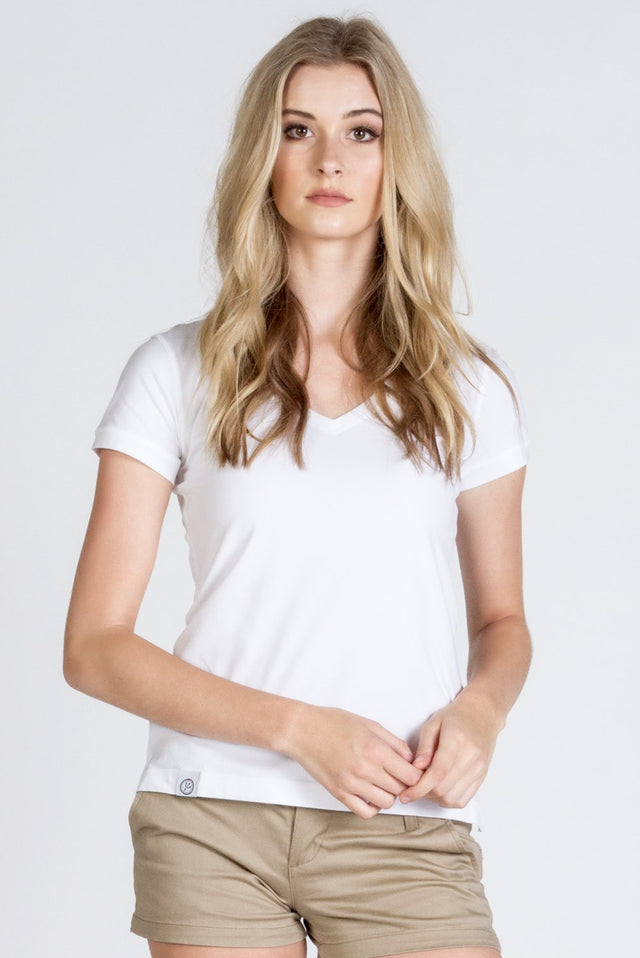White Stretch Cotton V Neck - SCARCI