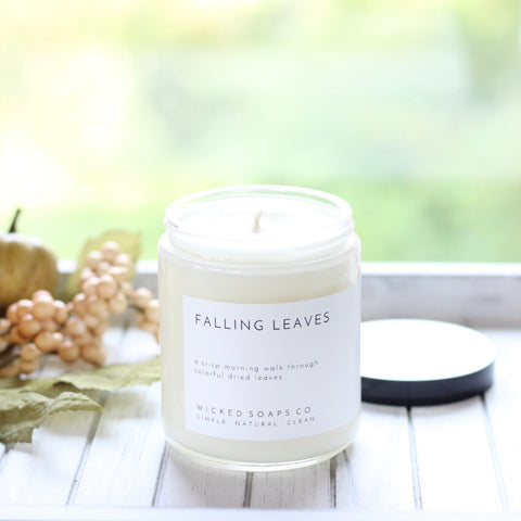 Falling Leaves Minimalist Soy Candle