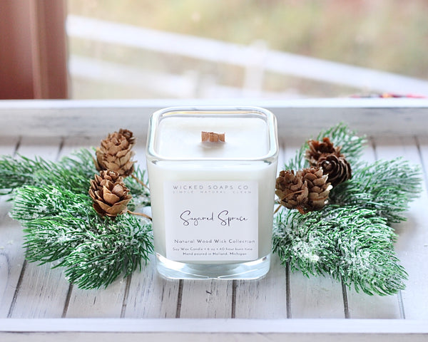 Sugared Spruce Wood Wick Candle