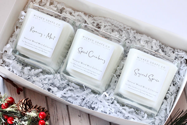 Holiday Wood Wick Candle Gift Set