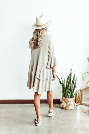 Heart of Life Ruffle Dress in Cream