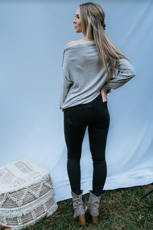 Gray Skies Knit Top