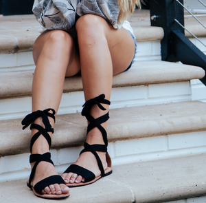 Twisted Up Black Sandals
