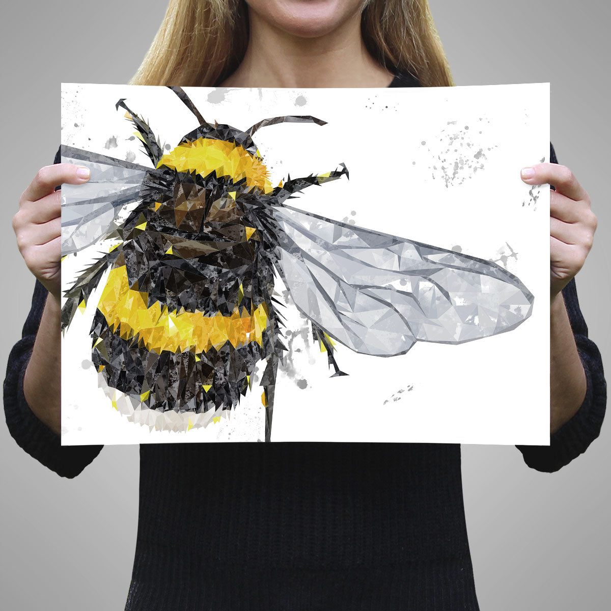 Picture of The Bee Grey Background A3 print