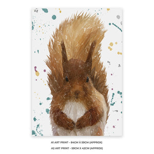 """Ellis"" The Red Squirrel A2 Unframed Art Print - Andy Thomas Artworks"