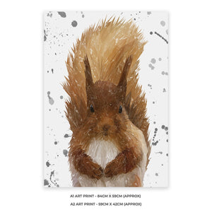 """Ellis"" The Red Squirrel (Grey Background) A2 Unframed Art Print - Andy Thomas Artworks"
