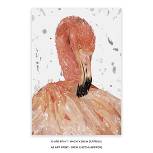"""Felicity"" The Flamingo (Grey Background) A2 Unframed Art Print - Andy Thomas Artworks"