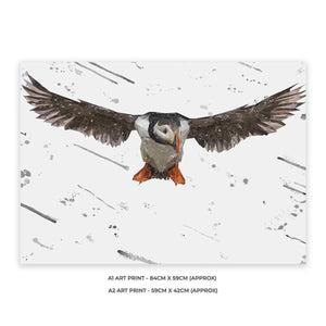 """Frank"" The Puffin (Grey Background) A2 Unframed Art Print - Andy Thomas Artworks"