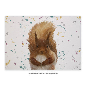 """Ellis"" The Red Squirrel Landscape A3 Unframed Art Print - Andy Thomas Artworks"