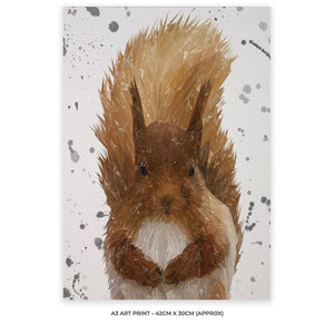 """Ellis"" The Red Squirrel (Grey Background) A3 Unframed Art Print - Andy Thomas Artworks"