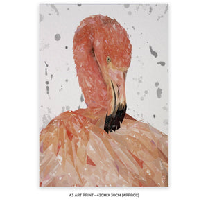 """Felicity"" The Flamingo (Grey Background) A3 Unframed Art Print - Andy Thomas Artworks"